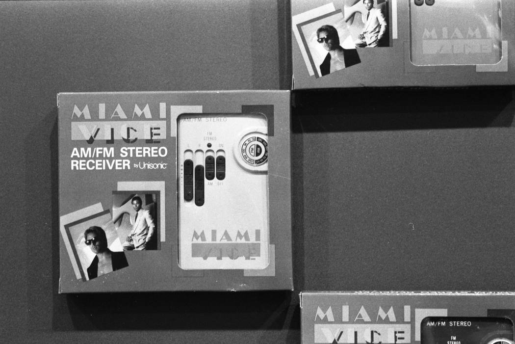 """Portable AM/FM stereo receivers branded as """"Miami Vice"""" merchandise are displayed at the 1987 CES show at the Las Vegas Convention Center. (Jim Laurie/Las Vegas Review-Journal)"""