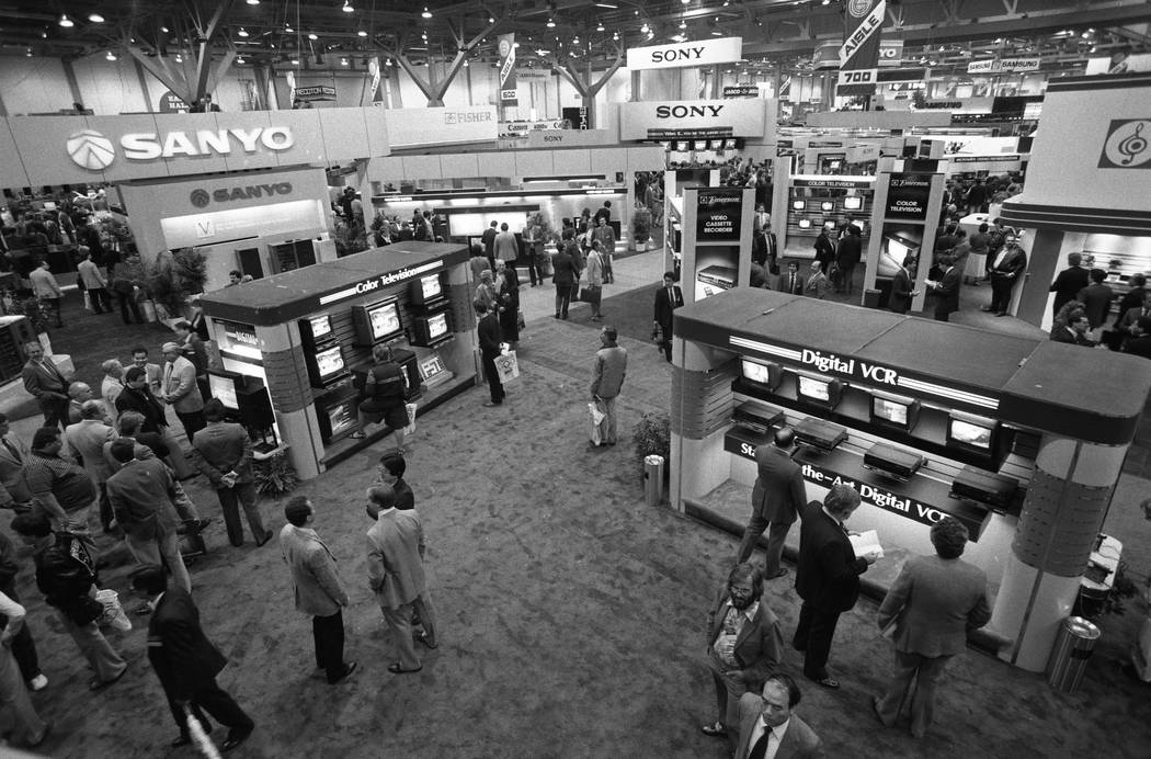 Sanyo and Sony are among the big names displaying their products at the 1987 CES show at the Las Vegas Convention Center. Other companies at the show included Casio, Lasonic, Gemini, Fuji, Gold St ...