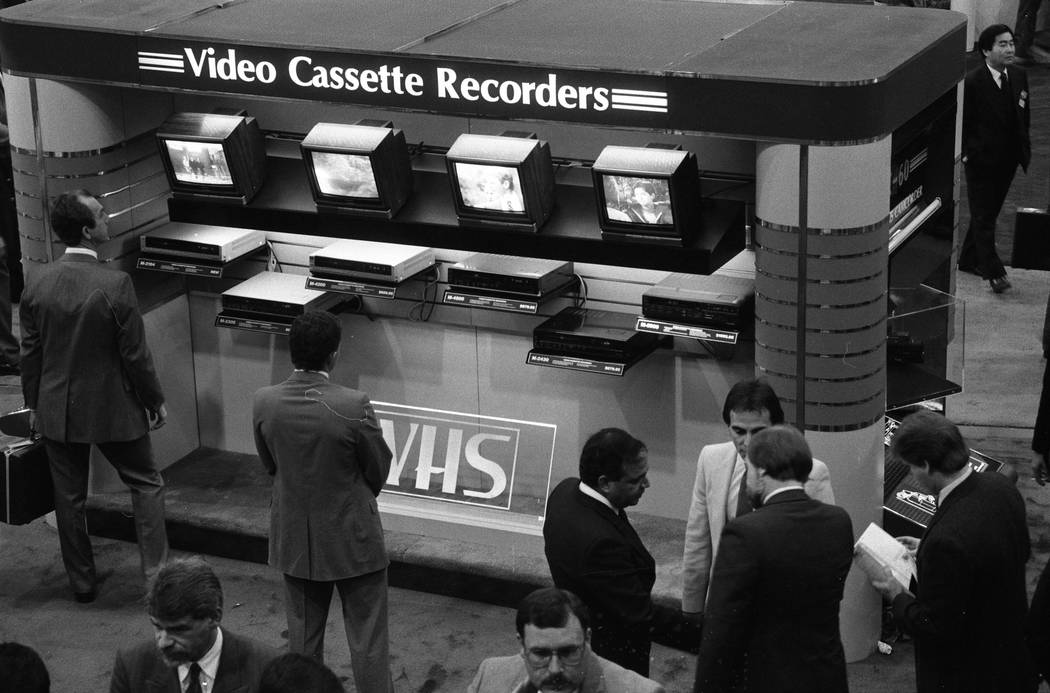 New models of video cassette recorders are on display at the 1987 CES show at the Las Vegas Convention Center. (Jim Laurie/Las Vegas Review-Journal)