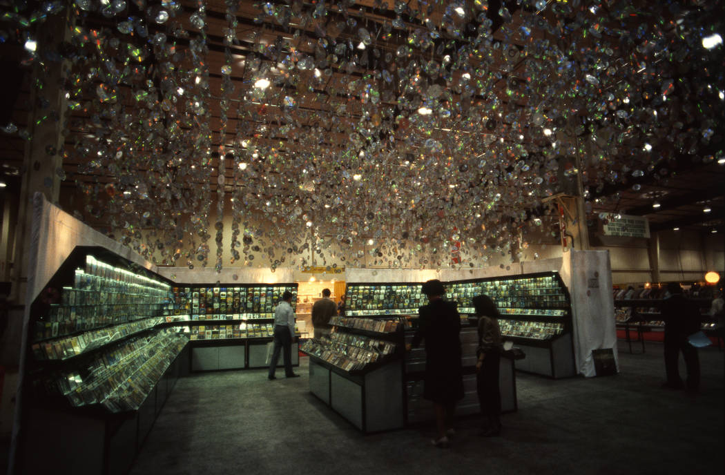 By 1987, compact discs were big at the Consumer Electronics Show at the Las Vegas Convention Center. This display featured hundreds of CDs hung from the ceiling. (Jim Laurie/Las Vegas Review-Journal)