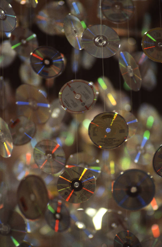 A closer look at the hundreds of CDs hung from the ceiling at the 1987 Consumer Electronics Show at the Las Vegas Convention Center. (Jim Laurie/Las Vegas Review-Journal)