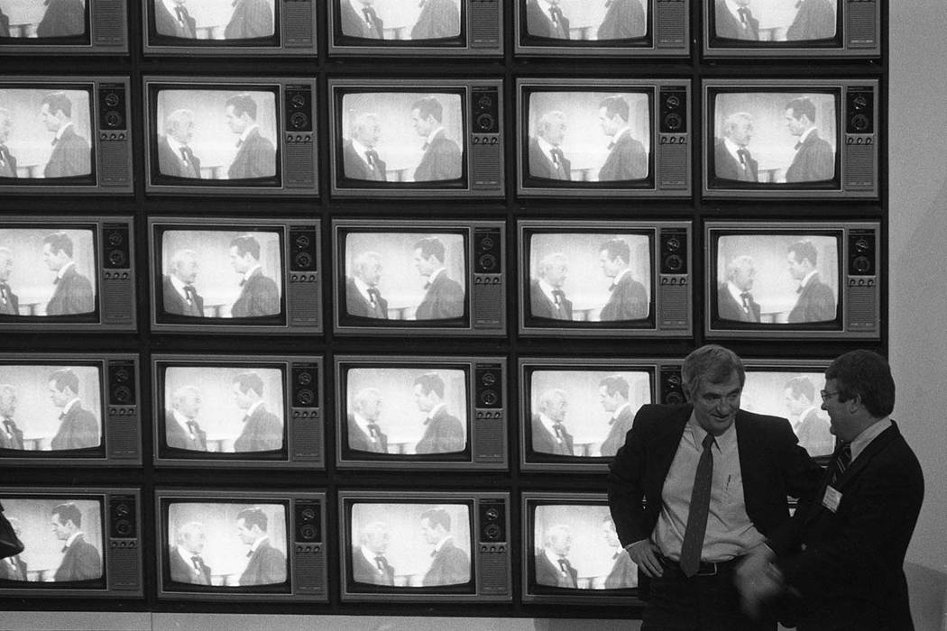 In 1980, this display at the Consumer Electronics Show featured a wall of televisions. (Scott Henry/Las Vegas Review-Journal)