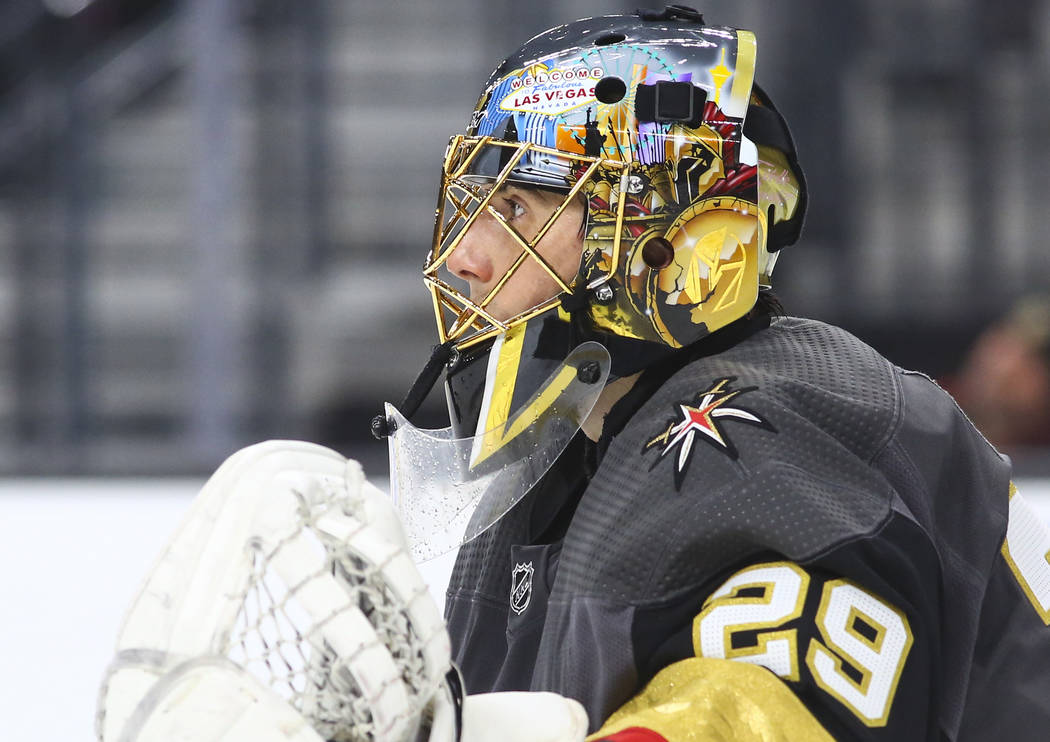 Chase Stevens Real Estate Millions Golden Knights goaltender Marc-Andre Fleury (29) looks on during the second period of an NHL hockey game against the Los Angeles Kings at T-Mobile Arena in Jan. 1.