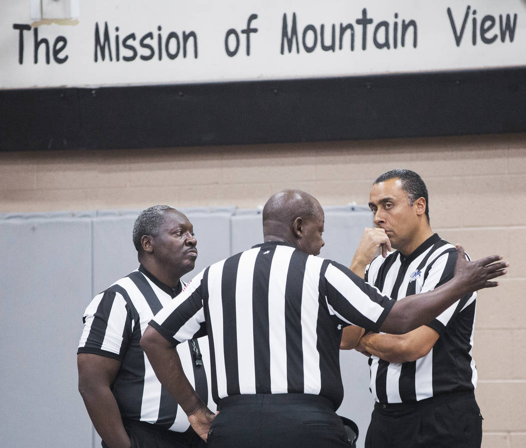 Referees discuss the circumstances that led to the Bonanza, Sierra Vista game being suspended and ultimately forfeited after an on court incident at halftime during the semifinals of the Vegas Inv ...