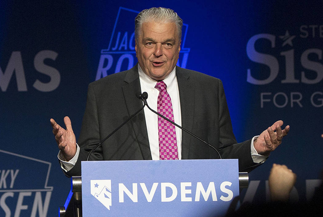 Steve Sisolak addresses the crowd after winning the Nevada governor's race at an election night event hosted by the Nevada Democrats on Tuesday, November 6, 2018, at Caesars Palace, in Las Vegas. ...