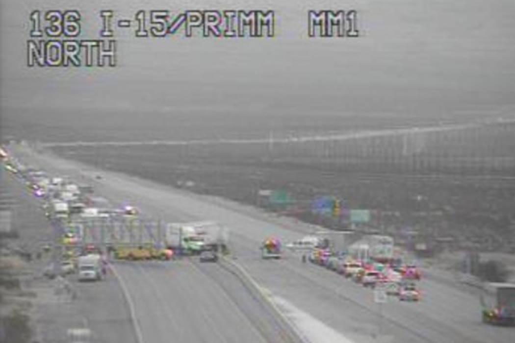 1 critically injured after 9-vehicle crash near Las Vegas