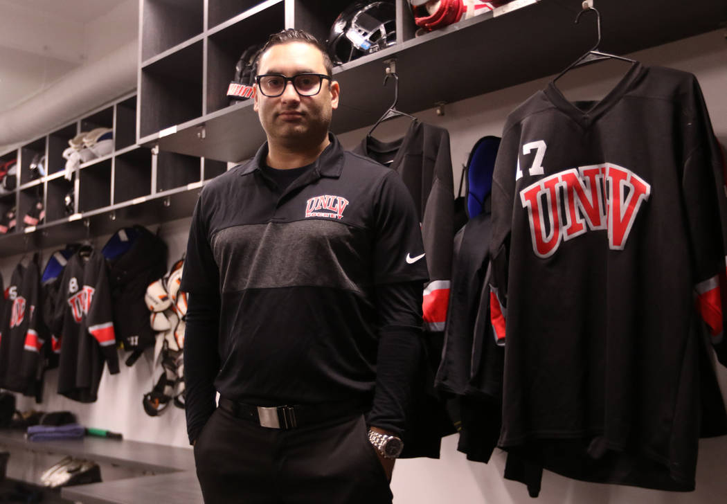 Zee Khan, General Manager of the UNLV hockey program, stands in the university's locker room at City National Arena in Las Vegas, Friday, Dec. 28, 2018. Heidi Fang Las Vegas Review-Journal @HeidiFang