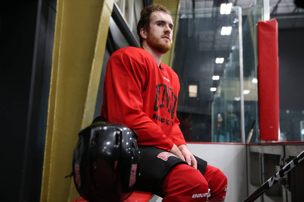 Eric Williams is interviewed during an UNLV hockey team practice at City National Arena in Las Vegas, Friday, Jan. 4, 2019. Erik Verduzco Las Vegas Review-Journal @Erik_Verduzco