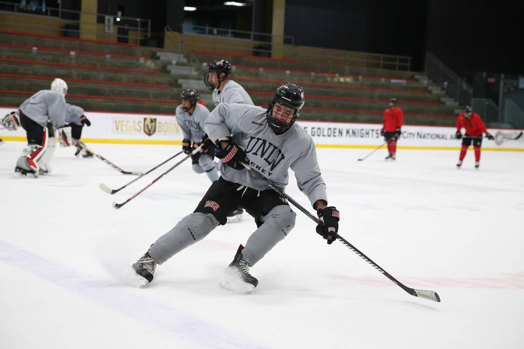 Sean Plonski runs a drill during an UNLV hockey team practice at City National Arena in Las Vegas, Friday, Jan. 4, 2019. Erik Verduzco Las Vegas Review-Journal @Erik_Verduzco