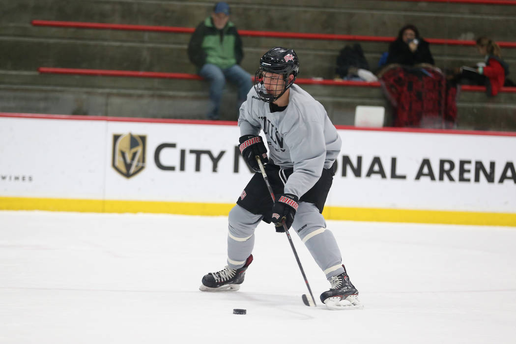 Trevor Pereverzoff during an UNLV hockey team practice at City National Arena in Las Vegas, Friday, Jan. 4, 2019. Erik Verduzco Las Vegas Review-Journal @Erik_Verduzco