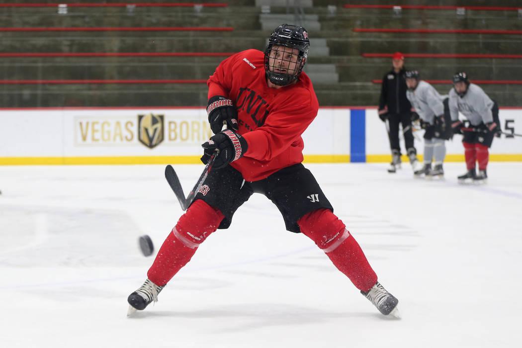 Viktor Brask takes a shot during an UNLV hockey team practice at City National Arena in Las Vegas, Friday, Jan. 4, 2019. Erik Verduzco Las Vegas Review-Journal @Erik_Verduzco