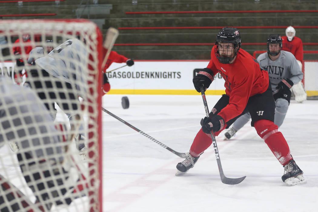 Eric Williams during an UNLV hockey team practice at City National Arena in Las Vegas, Friday, Jan. 4, 2019. Erik Verduzco Las Vegas Review-Journal @Erik_Verduzco