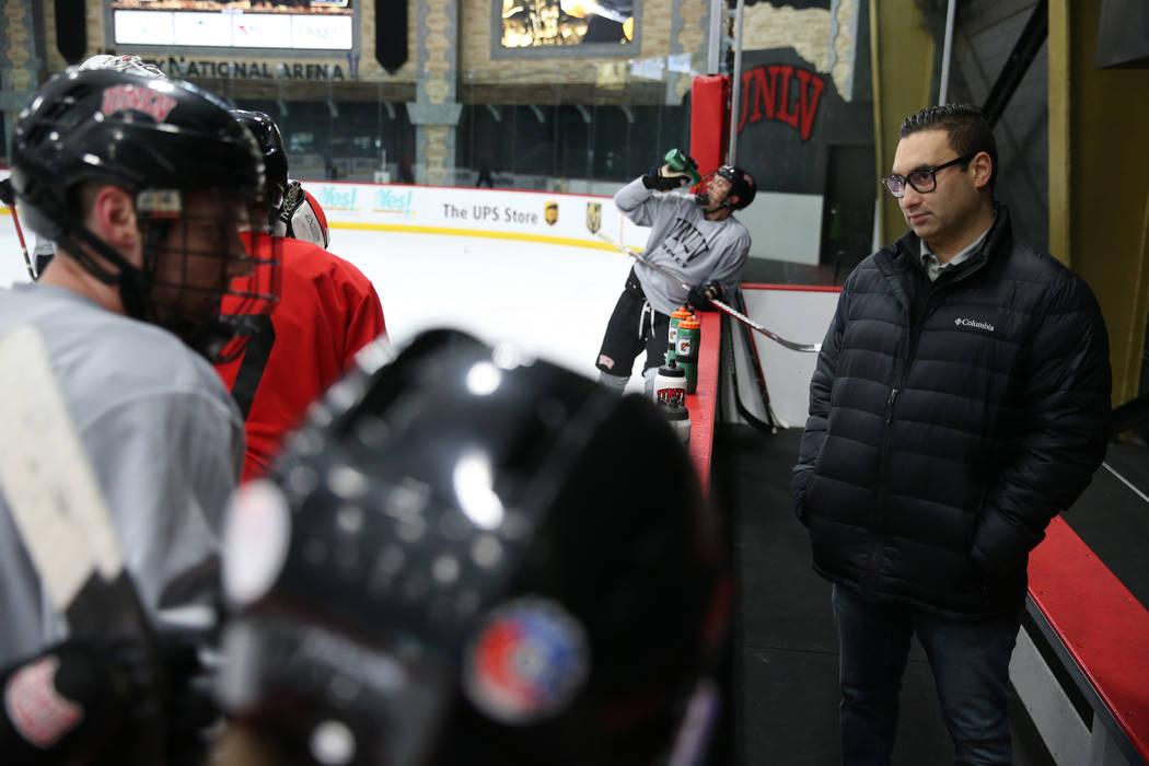 UNLV hockey general manager Zee Khan, right, during a team practice at City National Arena in Las Vegas, Friday, Jan. 4, 2019. Erik Verduzco Las Vegas Review-Journal @Erik_Verduzco