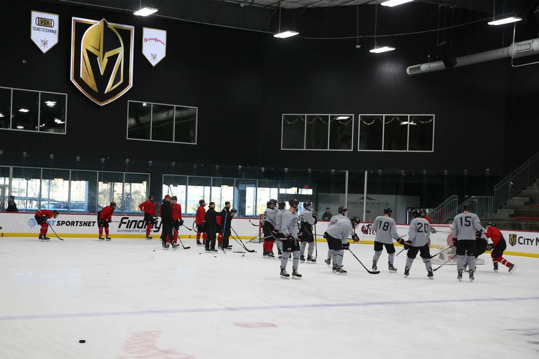 The UNLV hockey team practices at City National Arena in Las Vegas, Friday, Jan. 4, 2019. Erik Verduzco Las Vegas Review-Journal @Erik_Verduzco