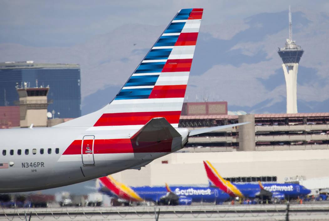 An American Airlines plane at McCarran International Airport in Las Vegas in 2018. (Richard Brian Las Vegas Review-Journal @vegasphotograph)