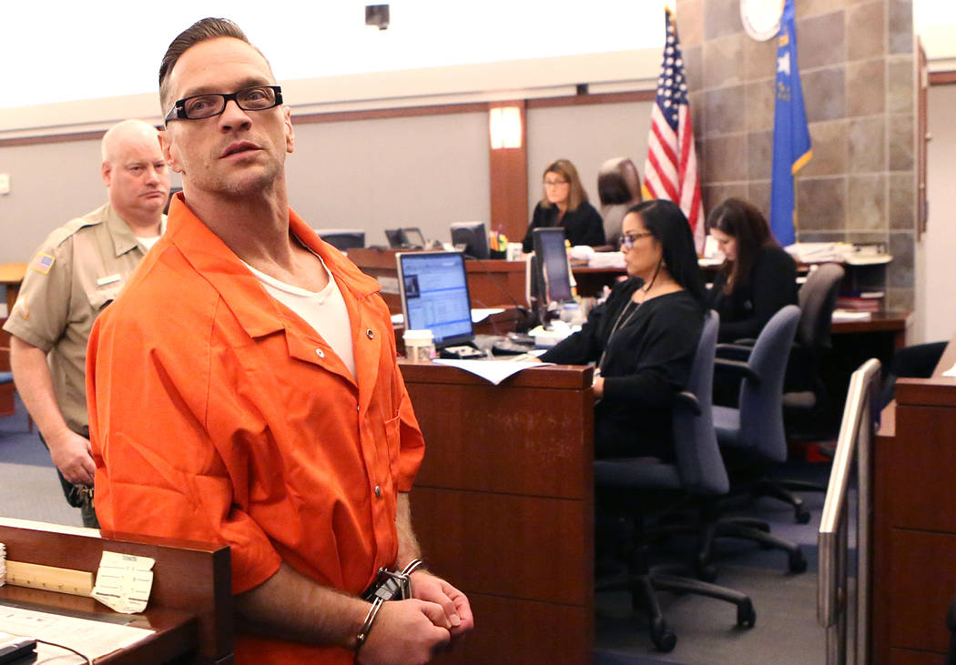Two-time killer Scott Dozier leaves the courtroom after his hearing at the Regional Justice Center on Thursday, Jan. 19, 2017, in Las Vegas. Dozier, who is on death row and is asking a judge to fo ...