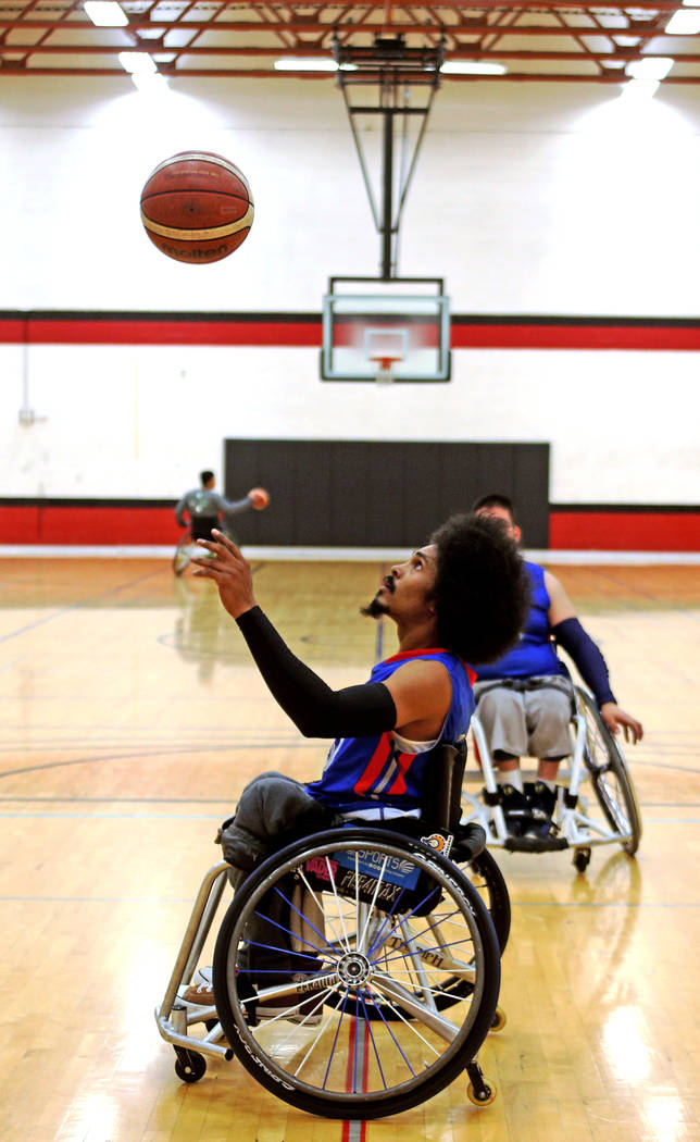 Rancho Renegades Albert Bartee III (40) practices during a break in a game against the Las Vegas Yuccas at the Wheelchair Basketball Division I-II Tournament at UNLV in Las Vegas, Sunday, Jan. 6, ...