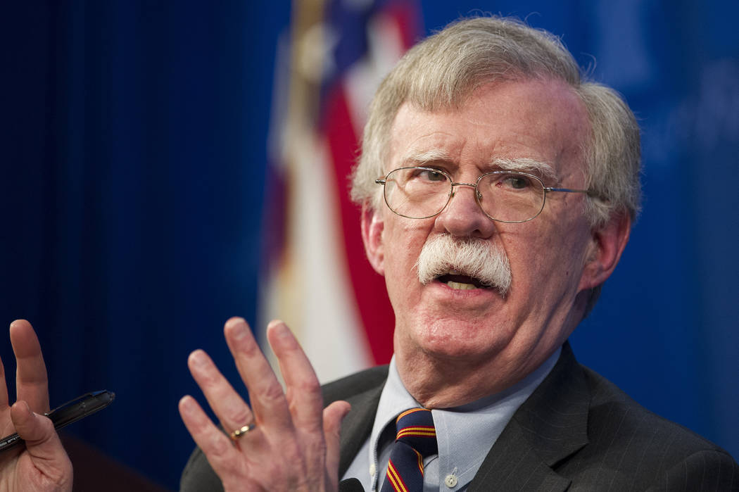 FILE - In this Dec. 13, 2018 file photo, National Security Advisor John Bolton unveils the Trump Administration's Africa Strategy at the Heritage Foundation in Washington. The White House has sen ...