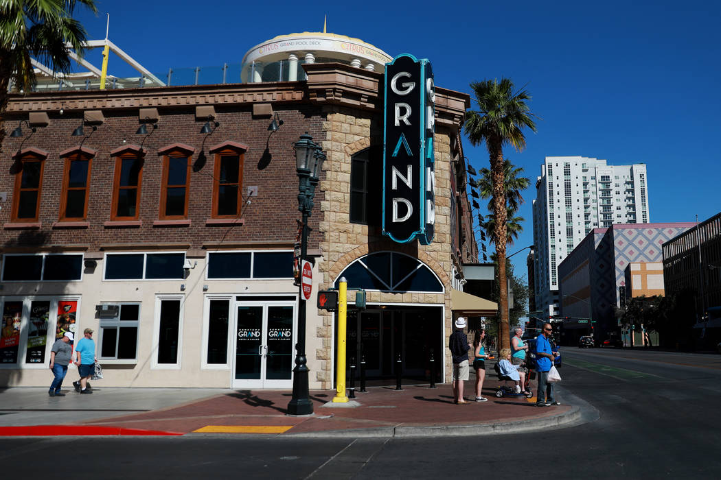 People Walk Along 3rd Street Near The Downtown Grand Hotel Casino In Las Vegas On Tuesday May 15 2018 Las Vegas Review Journal Las Vegas Review Journal