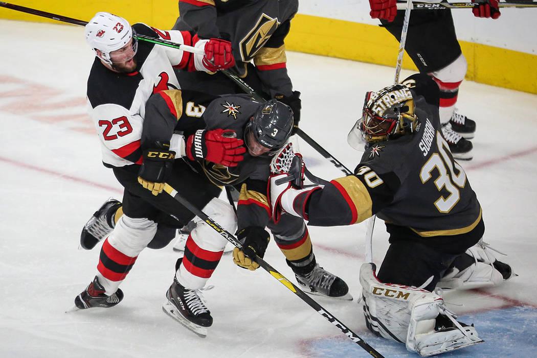 e743ad870b8 New Jersey Devils right wing Stefan Noesen (23) and Vegas Golden Knights  defenseman Brayden