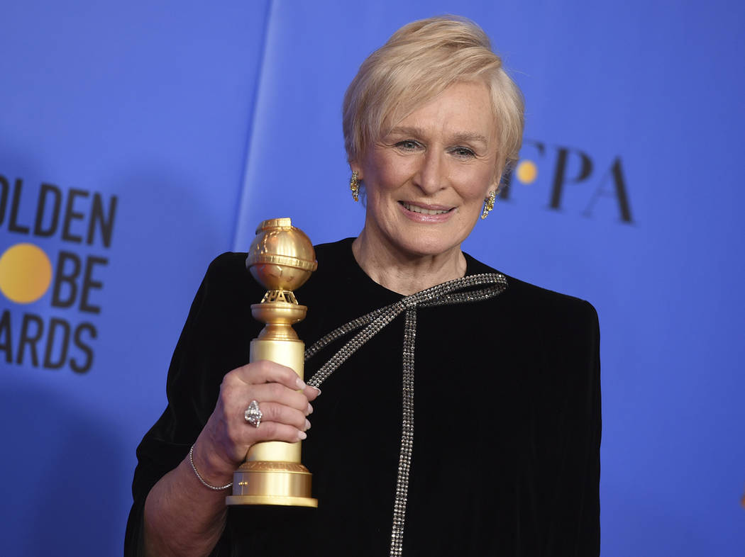 "Glenn Close poses in the press room with the award for best performance by an actress in a motion picture, drama for ""The Wife"" at the 76th annual Golden Globe Awards at the Beverly Hilt ..."
