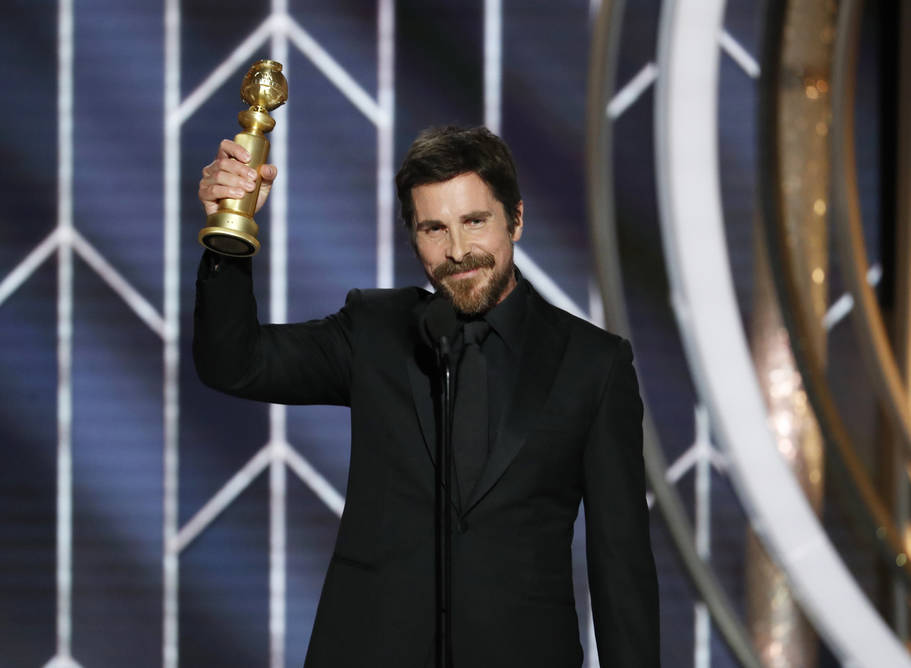"This image released by NBC shows Christian Bale accepting the award for best actor in motion picture musical or comedy for his role in ""Vice"" during the 76th Annual Golden Globe Awards a ..."
