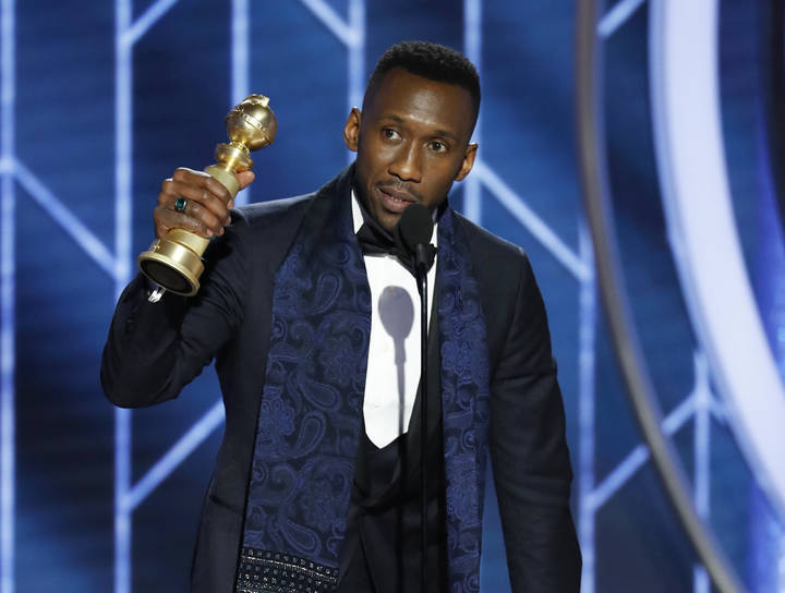 "This image released by NBC shows Mahershala Ali accepting the award for best supporting actor in a motion picture for his role in ""Green Book"" during the 76th Annual Golden Globe Awards ..."
