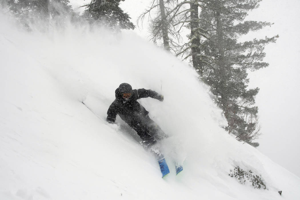In this photo provided by Blake Kessler, Wesley Kepke skis in Alpine Meadows, Calif., on Sunday, Jan. 6, 2019. A winter storm swept through parts of California, Nevada and Utah, bringing heavy sno ...
