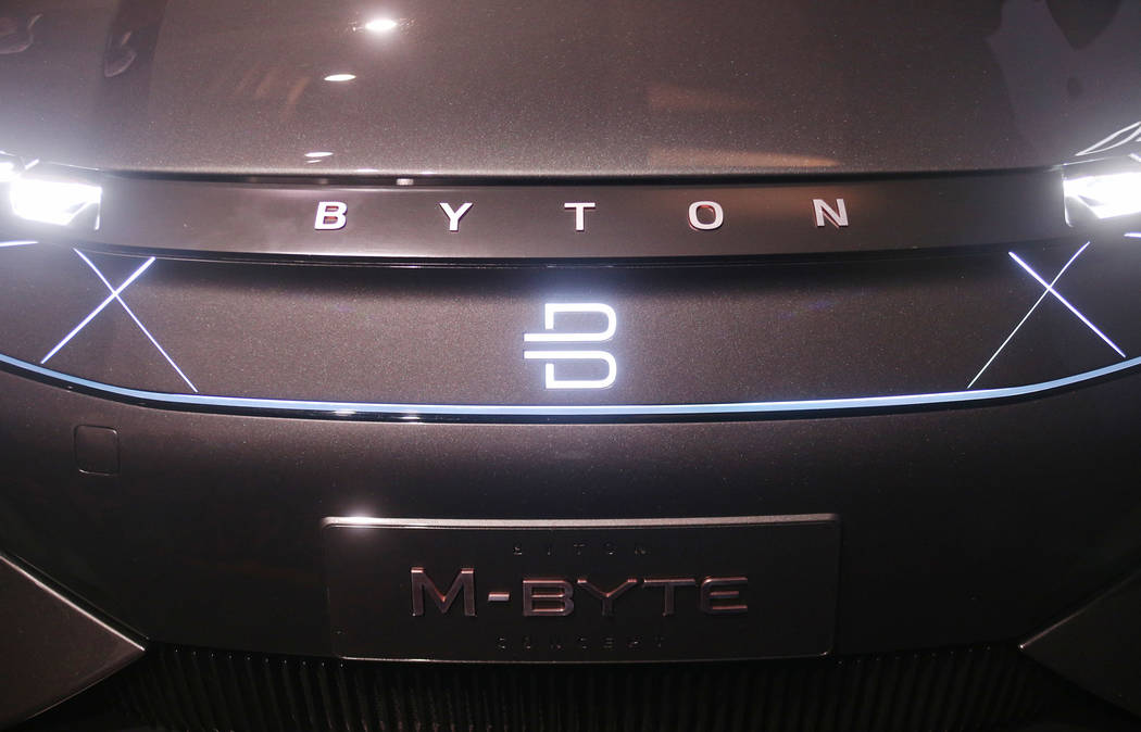 A Byton fully electric M-Byte SUV at a CES event for media prefacing the tech mega-conference at Mandalay Bay in Las Vegas, Sunday, Jan. 6, 2019. Rachel Aston Las Vegas Review-Journal @rookie__rae