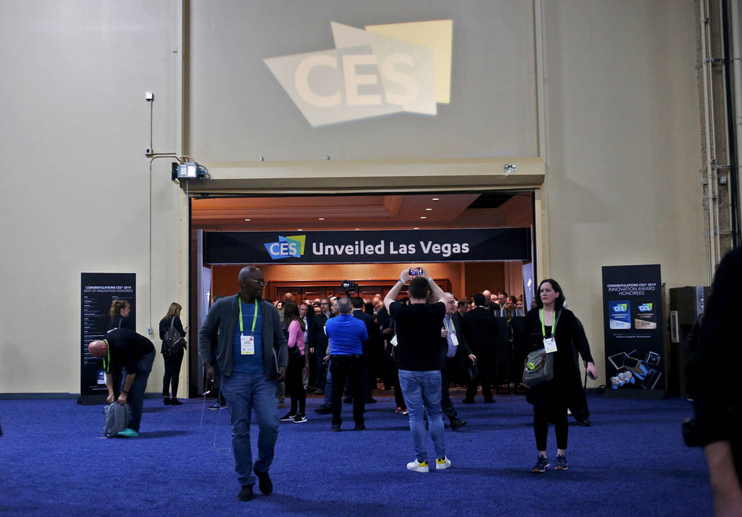 Media members enter the CES Unveiled event prefacing the tech mega-conference at Mandalay Bay in Las Vegas, Sunday, Jan. 6, 2019. Rachel Aston Las Vegas Review-Journal @rookie__rae