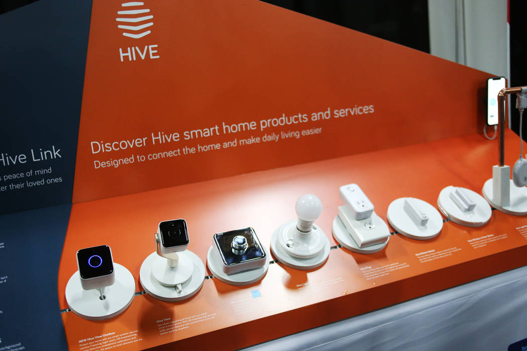 Different devices that are a part of the Hive product line at the CES Unveiled event for media prefacing the tech mega-conference at Mandalay Bay in Las Vegas, Sunday, Jan. 6, 2019. Different devi ...