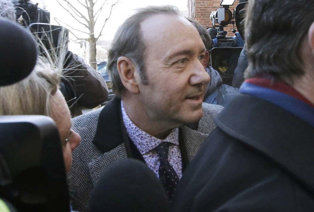 Actor Kevin Spacey arrives at district court on Monday, Jan. 7, 2019, in Nantucket, Mass., to be arraigned on a charge of indecent assault and battery. The Oscar-winning actor is accused of gropin ...