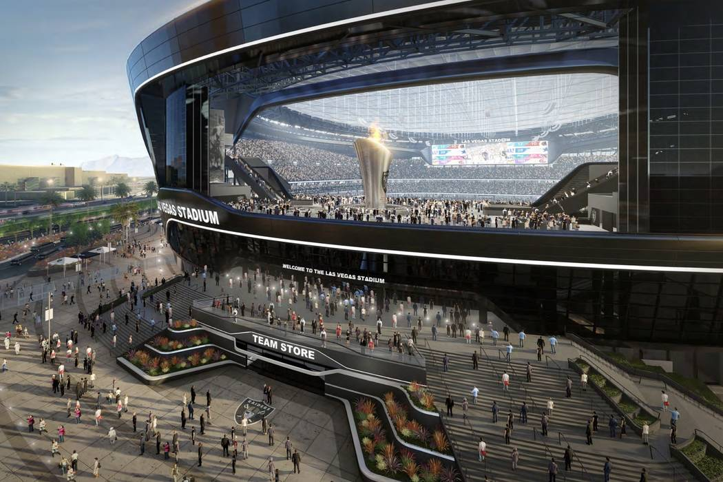Renderings of the new Raiders stadium being constructed in Las Vegas. (Las Vegas Stadium Authority)