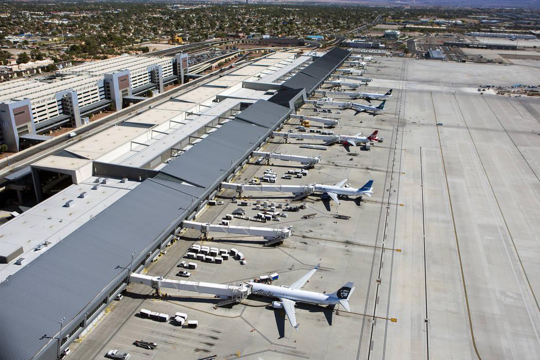 A view of McCarran International Airport Terminal 3 is seen from the new FAA Tower on Monday, Oct. 17, 2016. (Jeff Scheid/Las Vegas Review-Journal) @jeffscheid