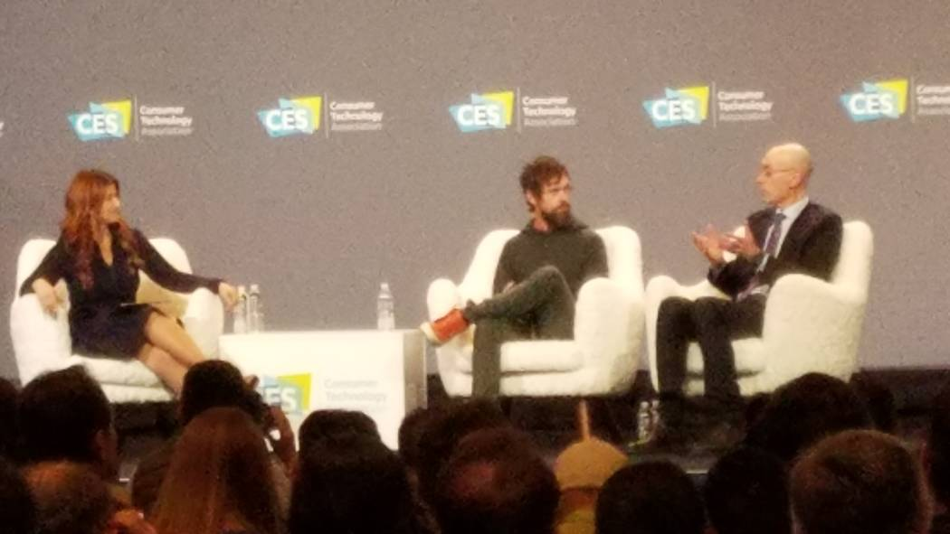 Twitter CEO Jack Dorsey, center, and National Basketball Association Commissioner Adam Silver were interviewed at the CES Sports Zone Stage by ESPN anchor Rachel Nichols Wednesday, Jan. 9, 2019, a ...