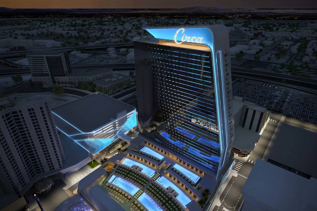 Rendering of Circa, a casino-hotel resort being built in downtown Las Vegas by DerekandGregStevens. (Circa)