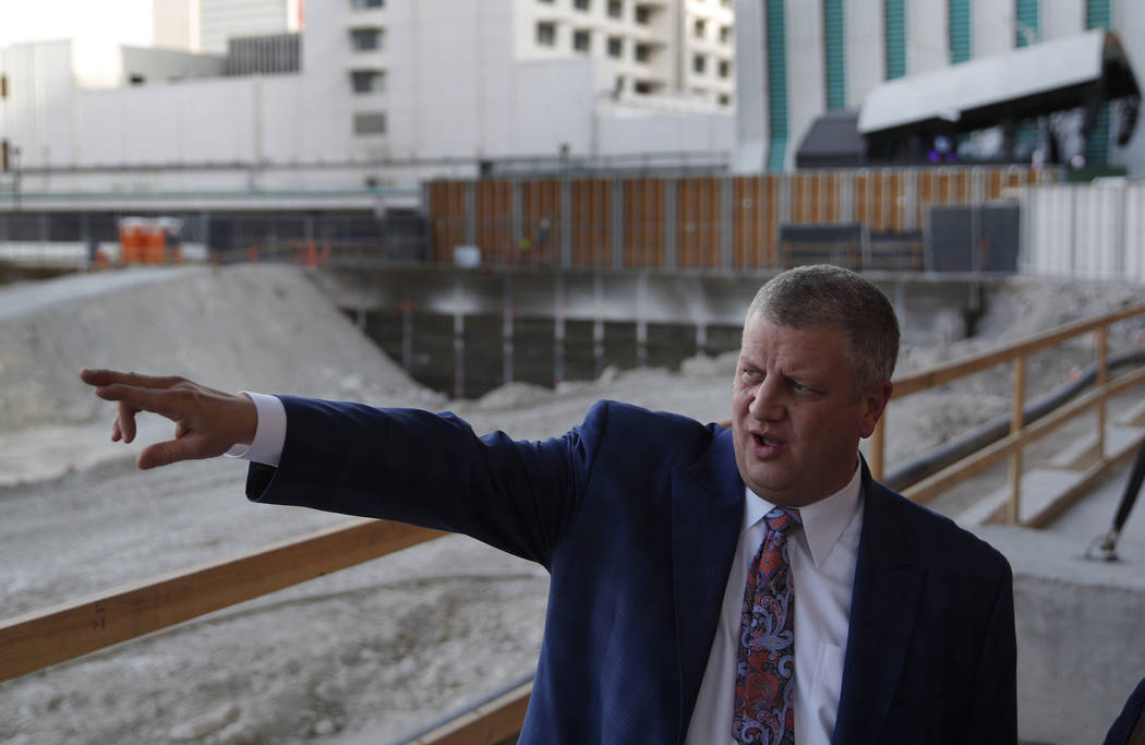 Co-owner Derek Stevens gives a tour of land where a planned casino-resort is scheduled to open in 2020 in Las Vegas on Dec. 17, 2018. The entertainment district of downtown Las Vegas will see its ...
