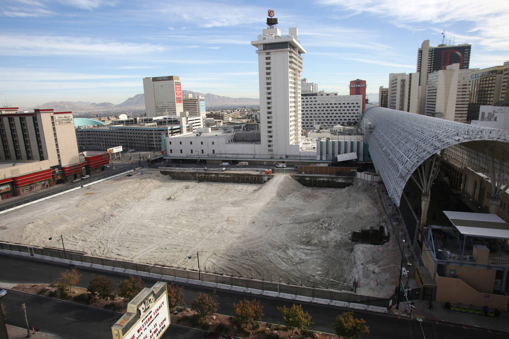 The site of Derek Stevens' new property, Circa, being built in downtown Las Vegas at the northwest corner of the Fremont Street Experience on Monday, December 17, 2018. (Michael Quine/Las Vegas ...