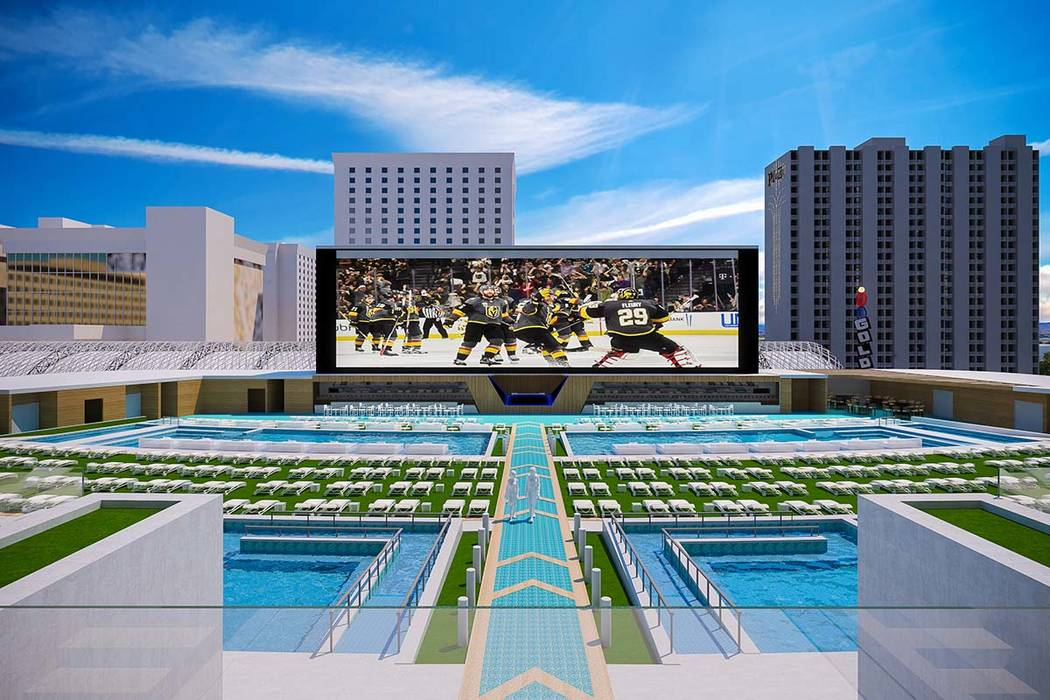 Rendering of pool amphitheater at Circa, a casino-hotel resort being built in downtown Las Vegas by Derek and Greg Stevens. (Circa)