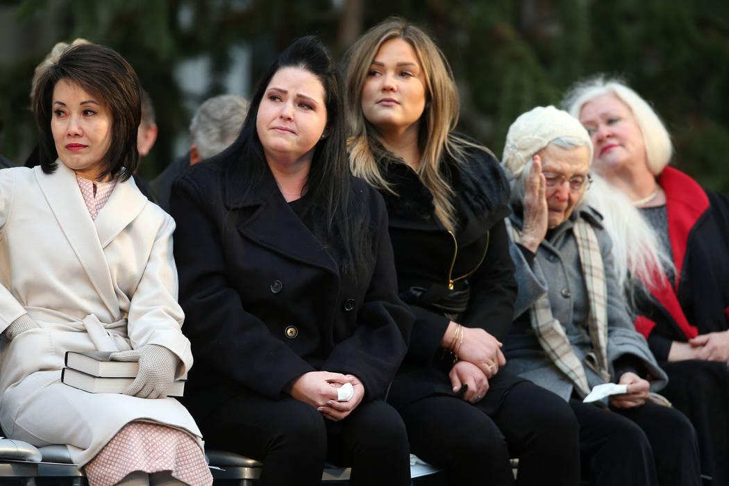From left, Nevada Gov. Steve Sisolak's wife, First Lady Kathy Sisolak, daughters Ashley Sisolak, Carley Sisolak, mother Mary Sisolak and sister Sue Sisolak get emotional listening as Nevada's 30th ...