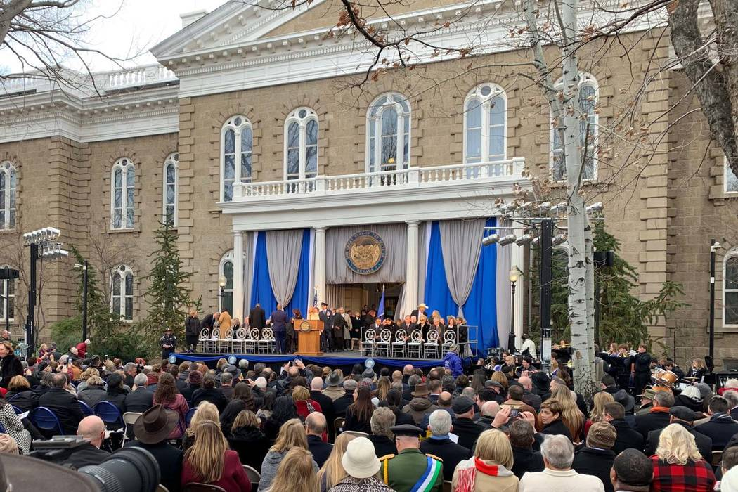 Ceremonies begin for the swearing in of Steve Sisolak as Nevada's 30th governor along with other statewideconstitutionalofficersandSupremeCourtjustices o ...