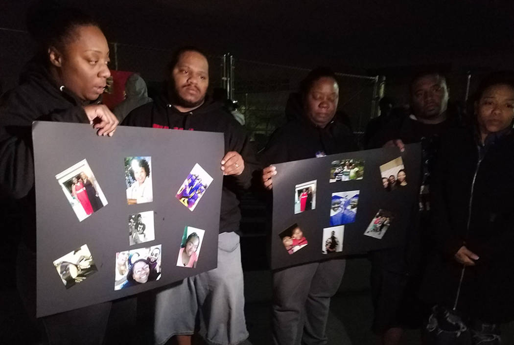 Family and friends gather for a vigil in remembrance of Carrie Williams-Smith and Jazzy Smith outside Sunrise Mountain High School in Las Vegas. (Mike Shoro/Las Vegas Review-Journal)