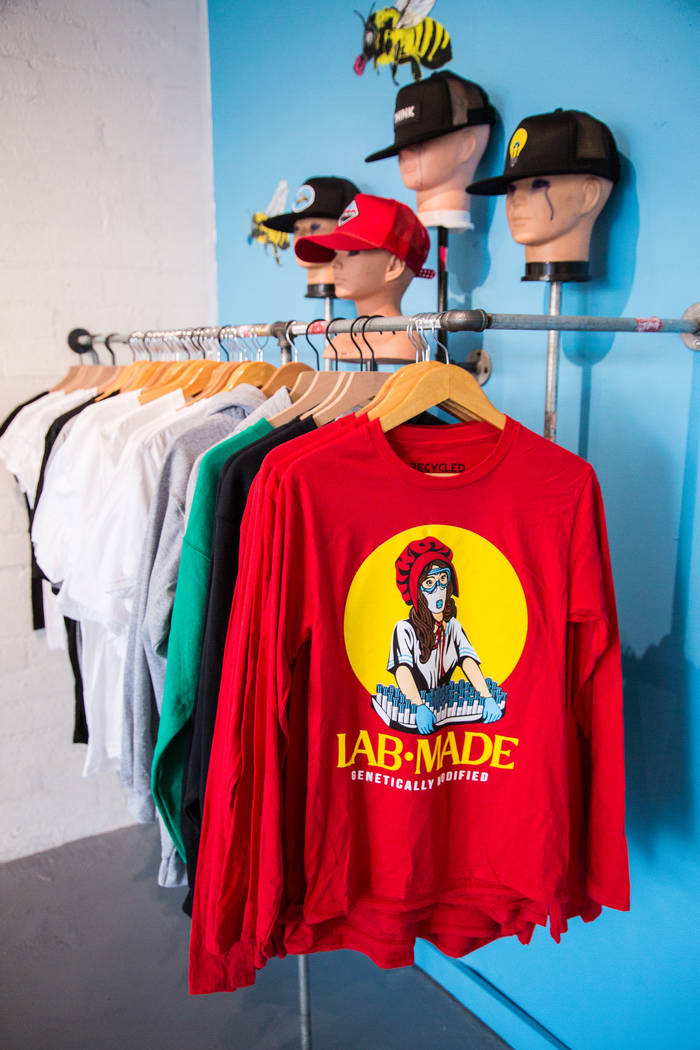Recycled Propaganda's new store in the Las Vegas Arts District showcases original paintings and mixed media pieces featuring familiar brands. Jesse Hudson