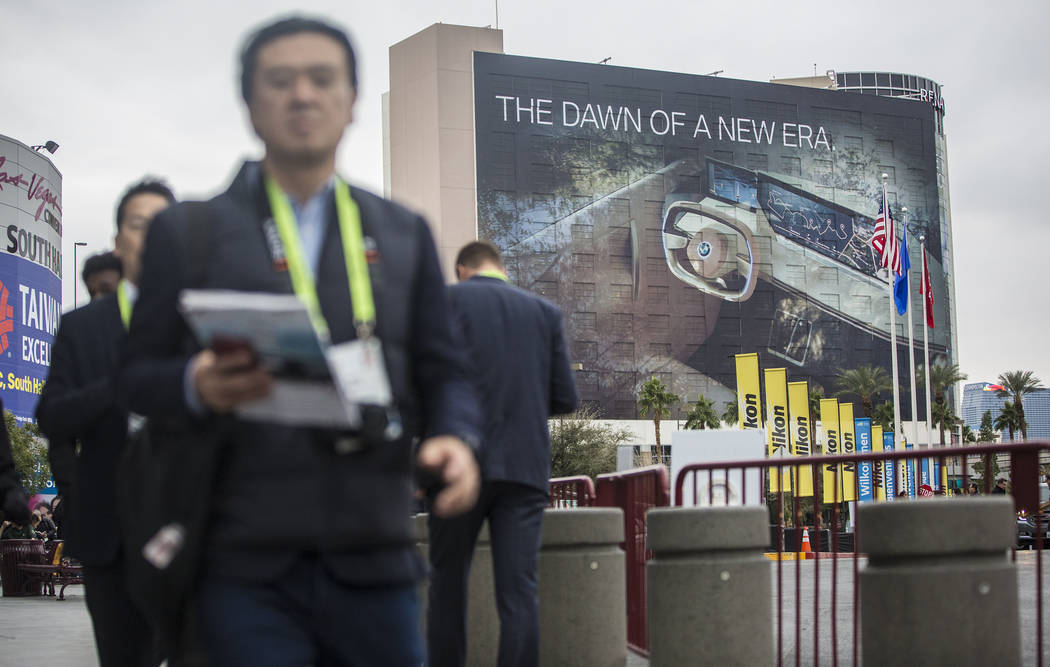 The sidewalks of the Las Vegas Convention Center are packed for CES 2019 on Monday, Jan. 7, 2019, in Las Vegas. The four day tech event brings over 4,500 vendors and 180,000 attendees, and is the ...