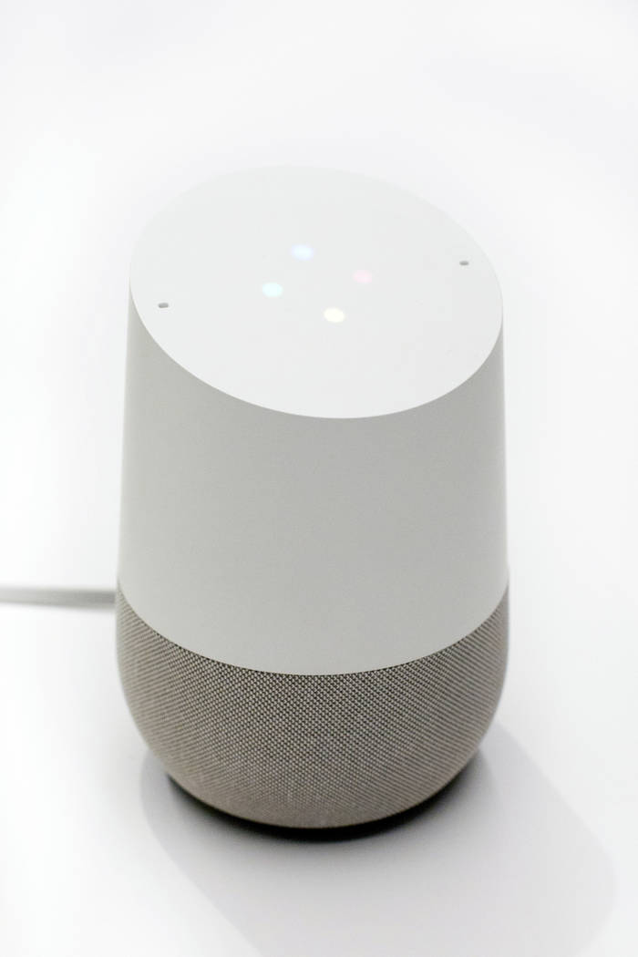 In this June 14, 2018, photo a Google Home is displayed in New York. (AP Photo/Mark Lennihan)