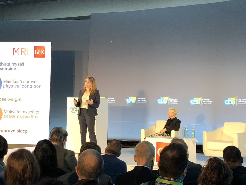 Kathy Sheehan, executive vice president of consumer life at market research company GfK, discusses smart technology at the Las Vegas Convention Center at CES 2019 on Monday, January 7.