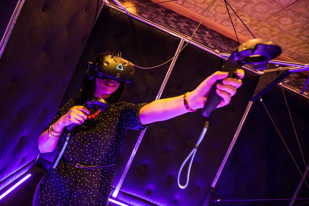 A virtual-reality game demonstration at The Orleans in Las Vegas. (Todd Prince/Las Vegas Review-Journal)
