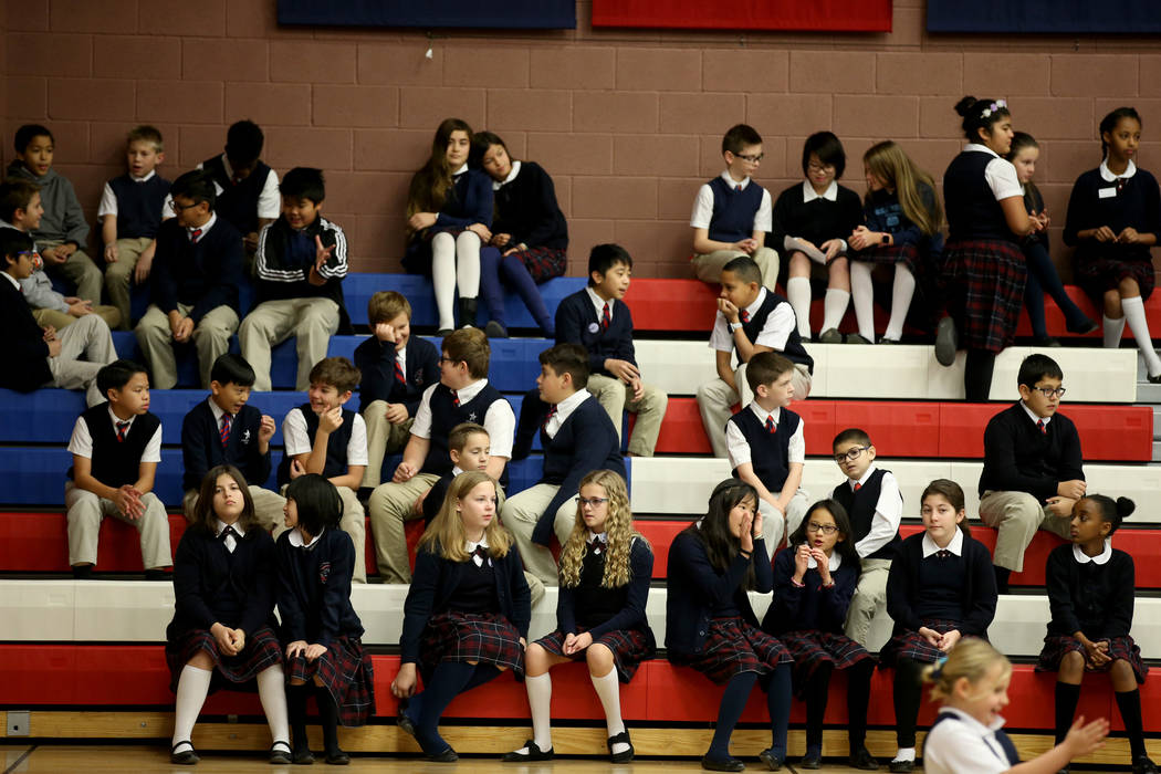 Students gather for an assembly in the gym at American Preparatory Academy charter school in Las Vegas Thursday, Jan. 3, 2019. K.M. Cannon Las Vegas Review-Journal @KMCannonPhoto