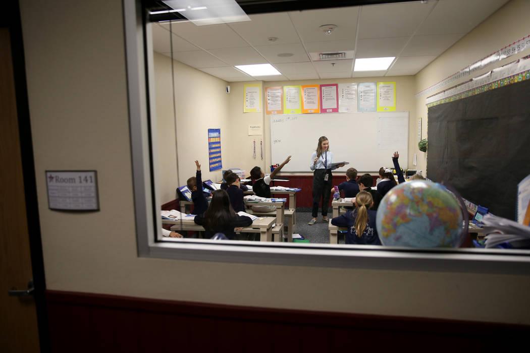 Instructor Allie Koscianski teaches K-3 reading in a break out room at American Preparatory Academy charter school in Las Vegas Thursday, Jan. 3, 2019. K.M. Cannon Las Vegas Review-Journal @KMCann ...