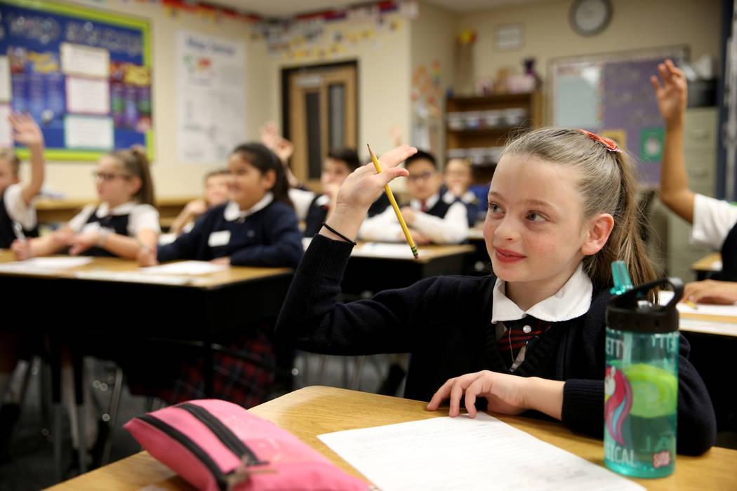 Samantha Bonn in Kaylie Gunn's fourth grade class at American Preparatory Academy charter school in Las Vegas Thursday, Jan. 3, 2019. K.M. Cannon Las Vegas Review-Journal @KMCannonPhoto